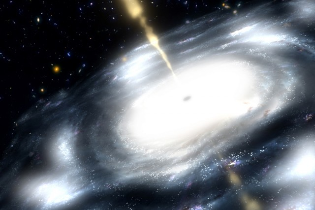 An illustration of a galaxy with a supermassive black hole shooting out jets of radio waves.