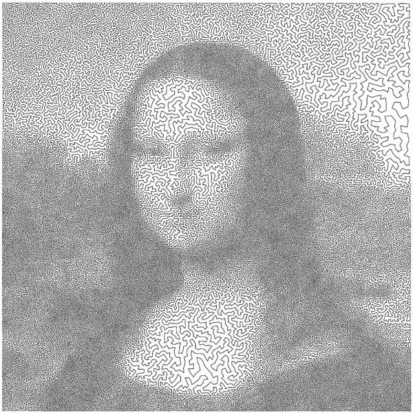 Leonardo da Vinci's Mona Lisa as a 100,000-city instance of the traveling salesman problem.