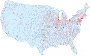 The shortest traveling salesman route going through all 13,509 cities in the contiguous United States with a population of at least 500 (as of 1998). (Illustration: Courtesy of David Applegate, Robert Bixby, Vasek Chvatal and William Cook)