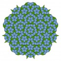 Figure 3. Penrose tilings, such as the above image, exhibit many local five-fold symmetries; however, these patterns never display wallpaper repetitions. As a Penrose tiling fills up more and more of the plane, the ratio of the number of fat tiles to the number of thin tiles approaches the golden ratio.