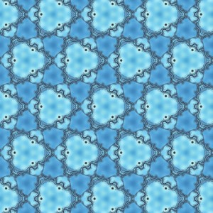 Figure 6. A wallpaper pattern with three-fold rotational symmetry, created through Farris's sine-wave method. (Illustration: Frank Farris)