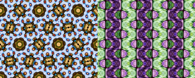 Figure 1. A wallpaper pattern with six-fold rotational symmetry around each of the brown-green rosettes. (Illustration: Frank Farris)Figure 2. A wallpaper pattern with reflection symmetries across (unmarked) horizontal lines through each of the elliptical stained-glass ornaments. (Illustration: Frank Farris)