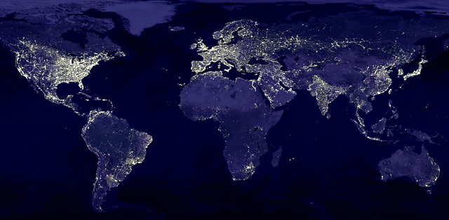 City lights, as seen in this composite NASA image, often rely on a system of interconnected networks that scientists say may be inherently vulnerable. (Data: Courtesy of Marc Imhoff of NASA GSFC and Christopher Elvidge of NOAA NGDC; Image: Craig Mayhew and Robert Simmon of NASA GSFC)