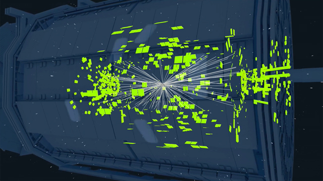 Video: Particle collisions at the Large Hadron Collider and the data they generated.