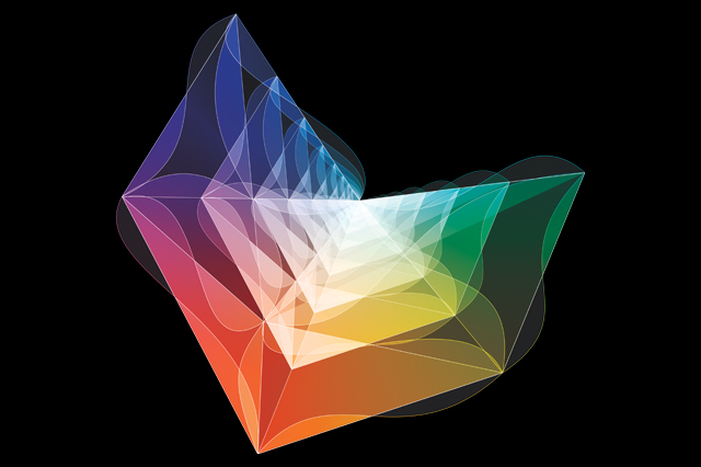 Artist's rendering of the amplituhedron, a newly discovered mathematical object resembling a multifaceted jewel in higher dimensions. Encoded in its volume are the most basic features of reality that can be calculated - the probabilities of outcomes of particle interactions