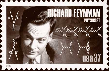 """The iconic 20th century physicist Richard Feynman invented a method for calculating probabilities of particle interactions using depictions of all the different ways an interaction could occur. Examples of """"Feynman diagrams"""" were included on a 2005 postage stamp honoring Feynman."""