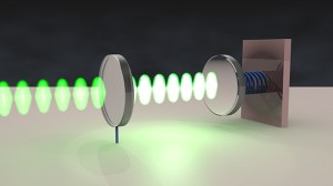 Rendering of an optomechanical oscillator.