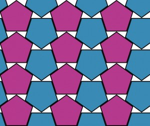 An arrangement of pentagons that is believed but not proved to be the densest possible.
