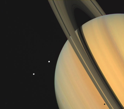 Photograph of Saturn and its moons.