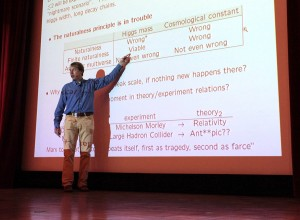 "Alessandro Strumia of the University of Pisa, pictured speaking at a conference in 2013, has co-developed a scale-symmetric theory of particle physics called ""agravity."""