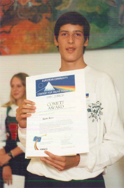 At 15, Hairer won a top prize at the 1991 European Community (now Union) Contest for Young Scientists in Zurich, Switzerland, with a computer interface for building electronic circuits.