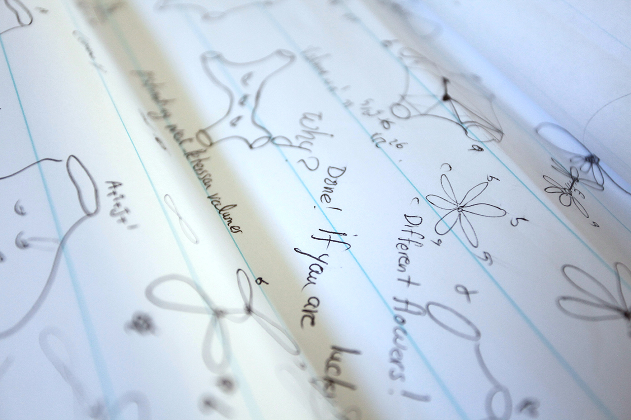Mirzakhani, who says she thinks about mathematics in pictures, often doodles her ideas on giant sheets of paper.