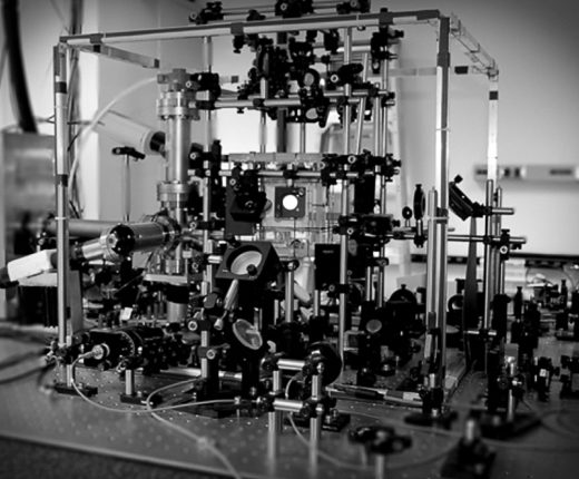 A test-bed quantum computer that Deutsch is working on with his colleague Poul Jessen at the University of Arizona.