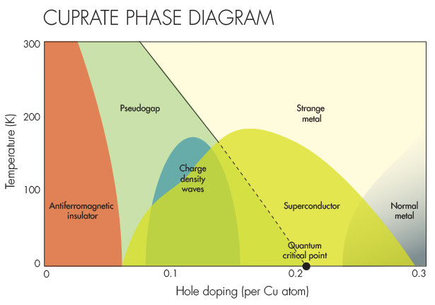 The phase diagram of hole-doped cuprates.