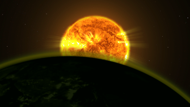 An exoplanet's atmosphere can filter out certain wavelengths of its star's light.