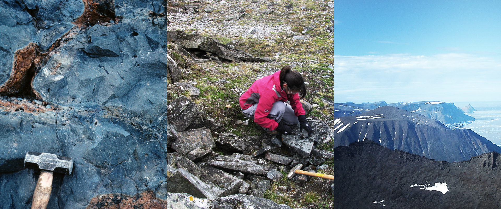 <p>The 60 million-year-old flood basalts of Baffin Bay, Greenland, sampled by the geochemist Hanika Rizo (center) and colleagues, contain isotope traces that originated more than 4.5 billion years ago.</p>