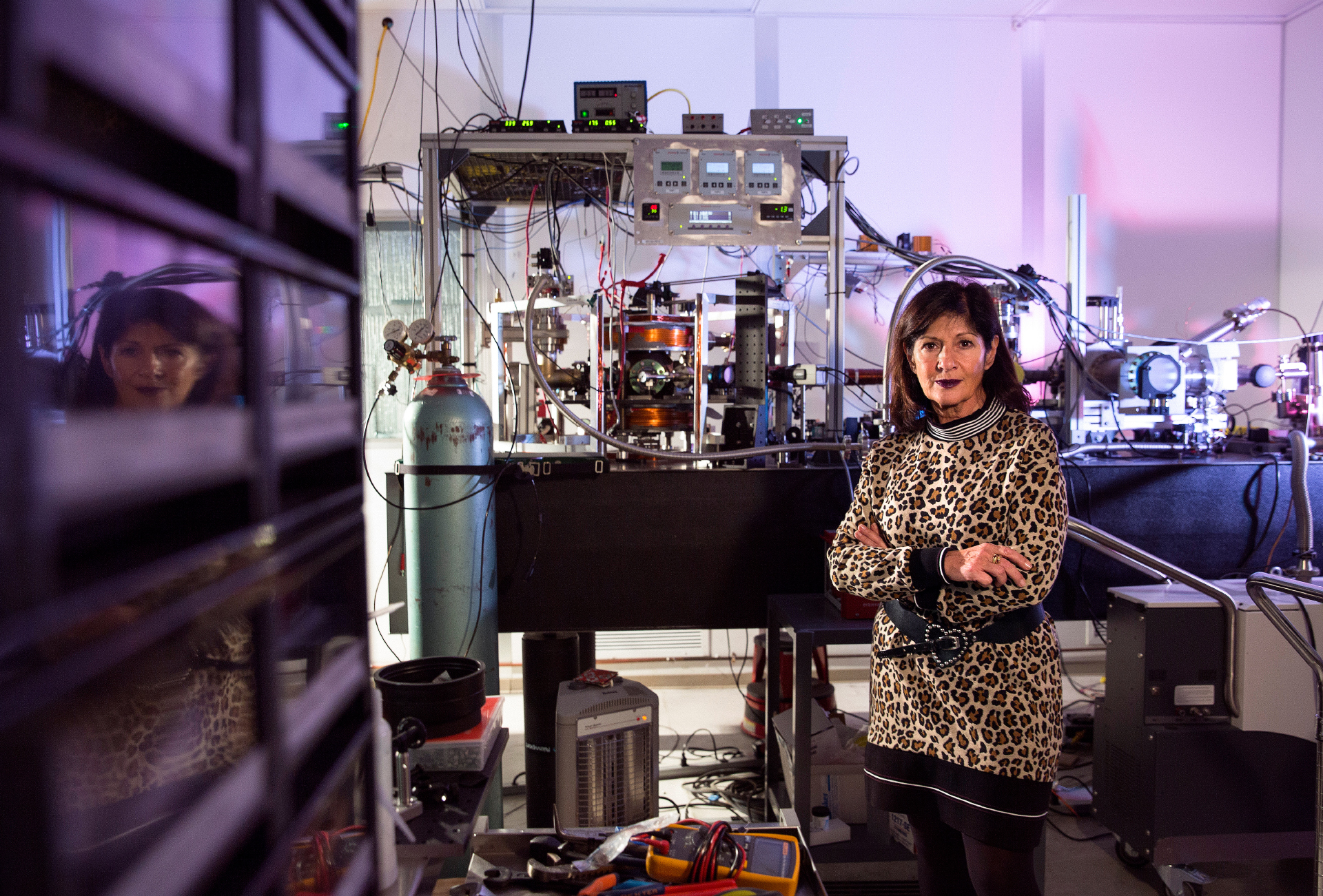 Elena Aprile in her lab at Columbia's Nevis Laboratories.