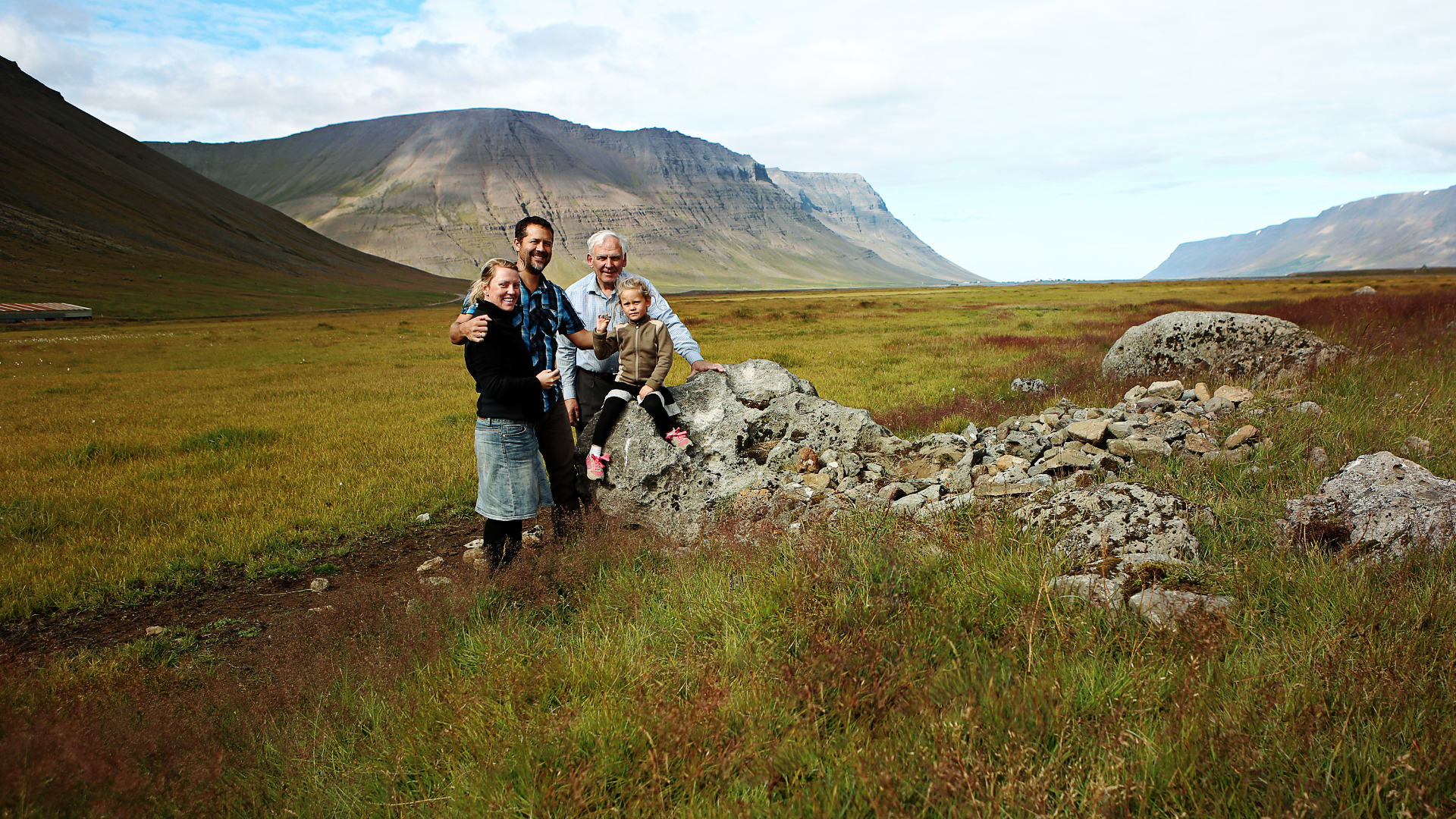 <p>Matt Jackson and his family with a local farmer in northwest Iceland.</p>