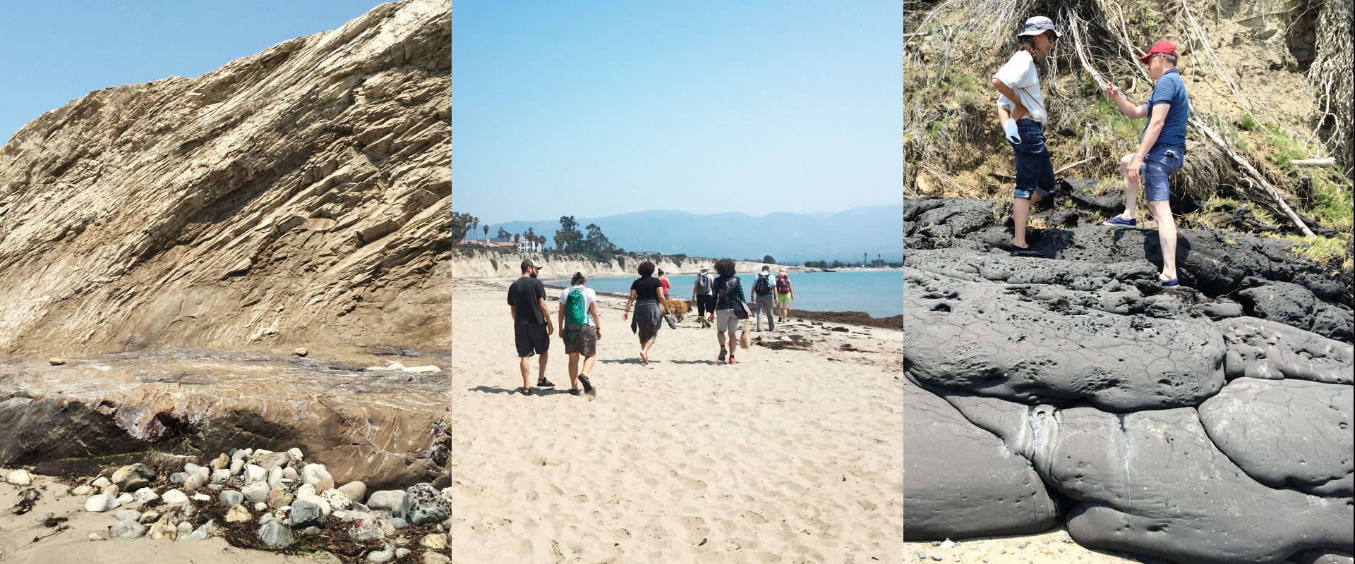 Earth scientists on a beach hike in Santa Barbara County, California.