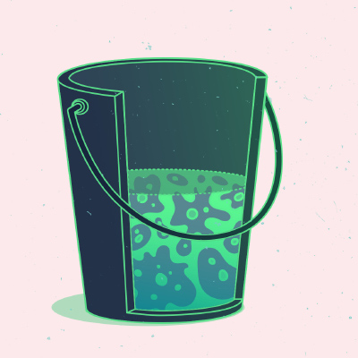 Illustration: bucket half-full of amoebas.