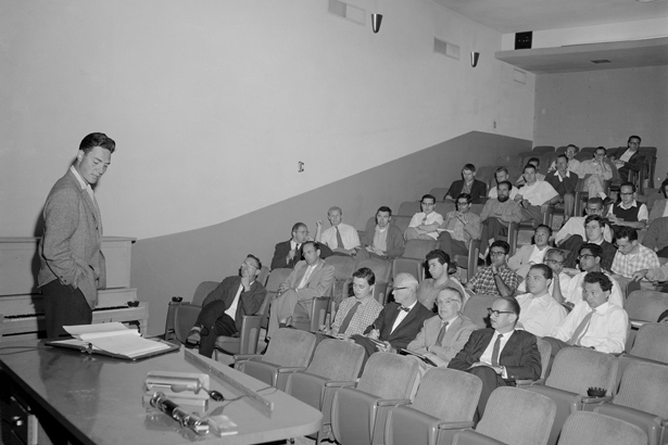 Geoffrey Chew giving a seminar in Berkeley, California, in 1961.