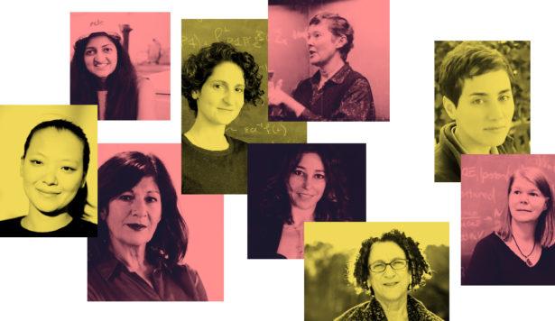 Clockwise from top left: Suchitra Sebastian, Sylvia Serfaty, Helen Quinn, Maryam Mirzakhani, Janet Conrad, Cynthia Dwork, Janna Levin, Elena Aprile and Miranda Cheng.