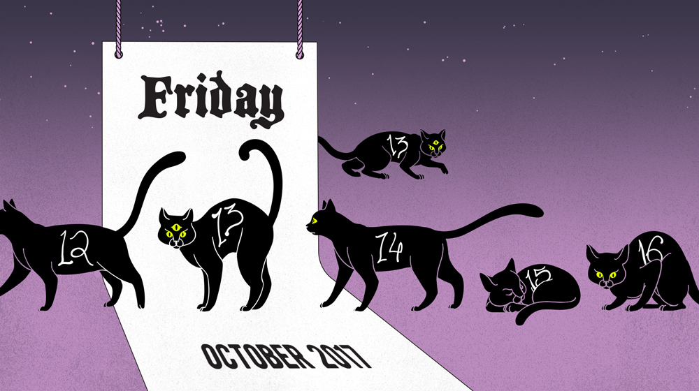 "Illustration: black, numbered cats crossing a calendar. An extra ""13"" lurks in the background."