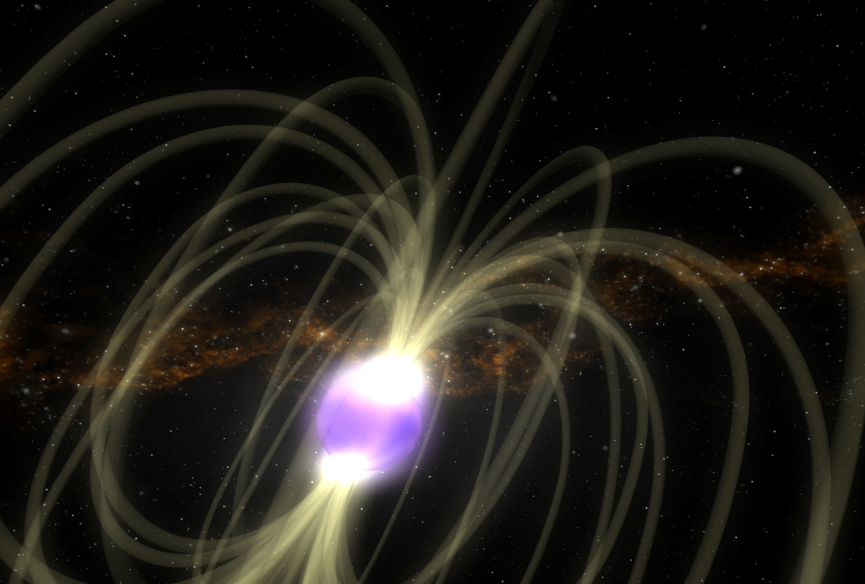 Artist's rendition of a highly magnetized neutron star, or magnetar.