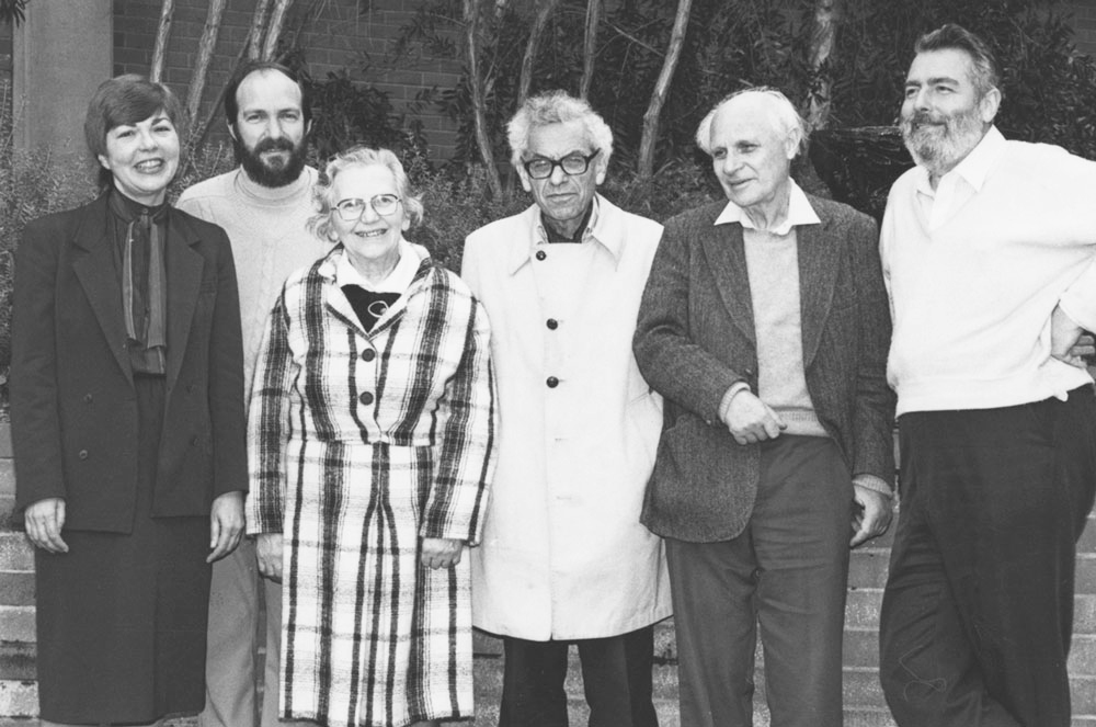 Esther Klein (third from left), Paul Erdős and George Szekeres visiting the University of Newcastle, Australia, in 1984.