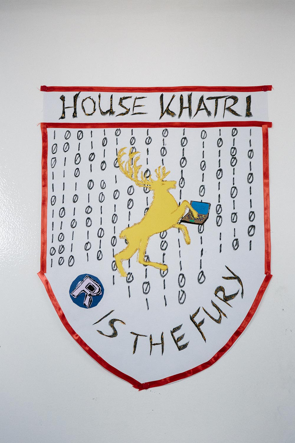 A humorous decoration in Khatri's laboratory teases his group's emphasis on genetic analysis.