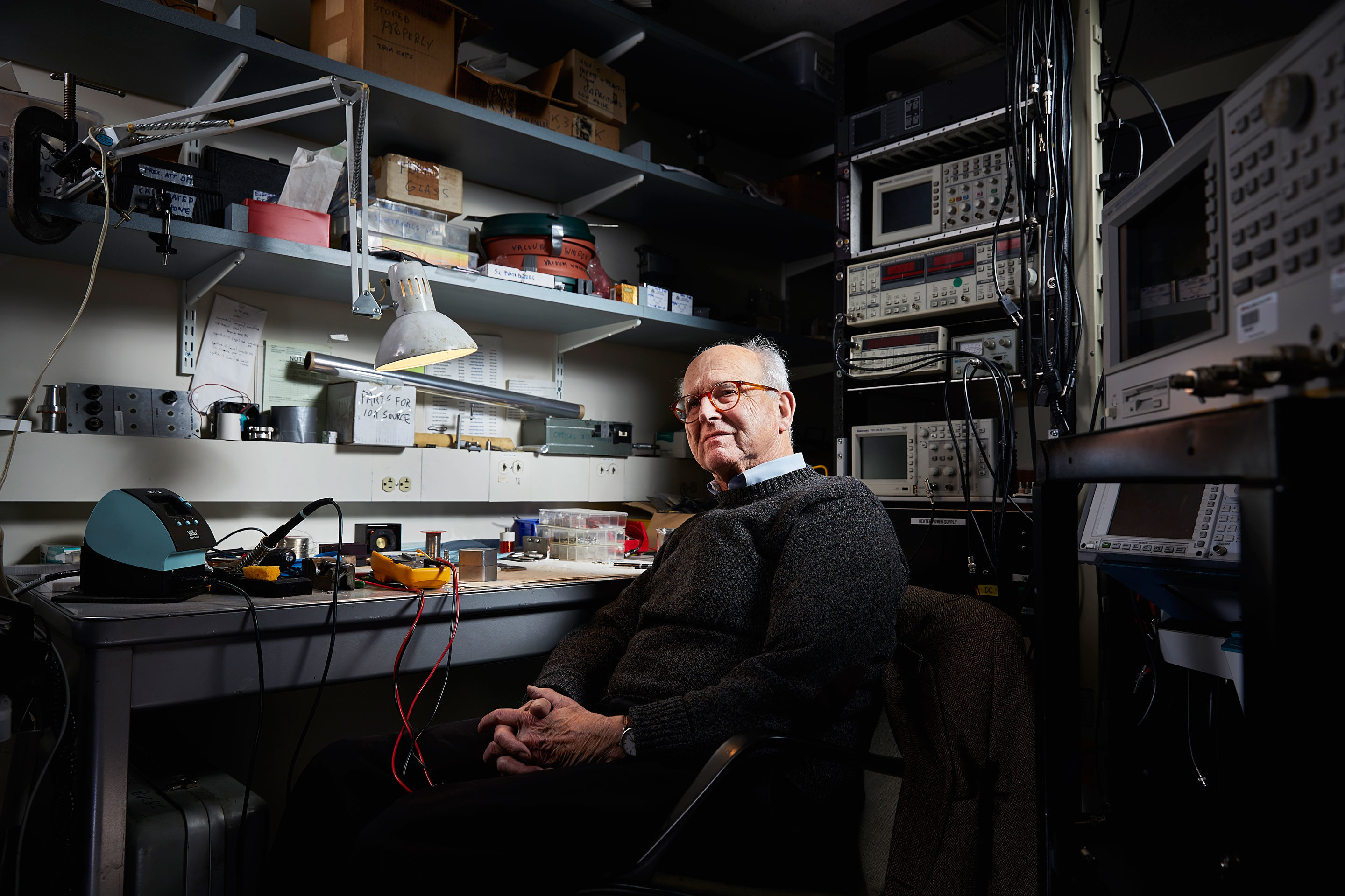 Rainer Weiss in his basement lab at the Massachusetts Institute of Technology.