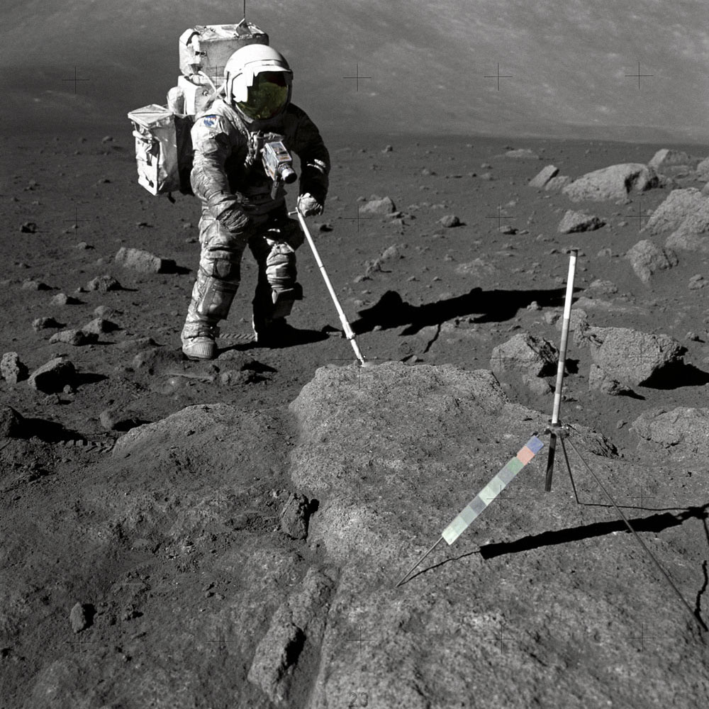 Harrison Schmitt, the first scientist to become an astronaut, collects lunar specimens during the Apollo 17 mission.