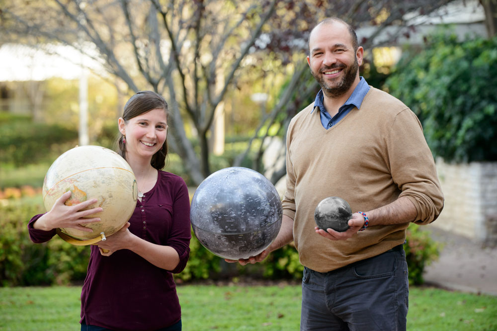 Oded Aharonson, a planetary scientist at the Weizmann Institute of Technology, along with his doctoral student Raluca Rufu (left). The pair devised a computer simulation that shows two moonlets coming together to form a larger body (right).