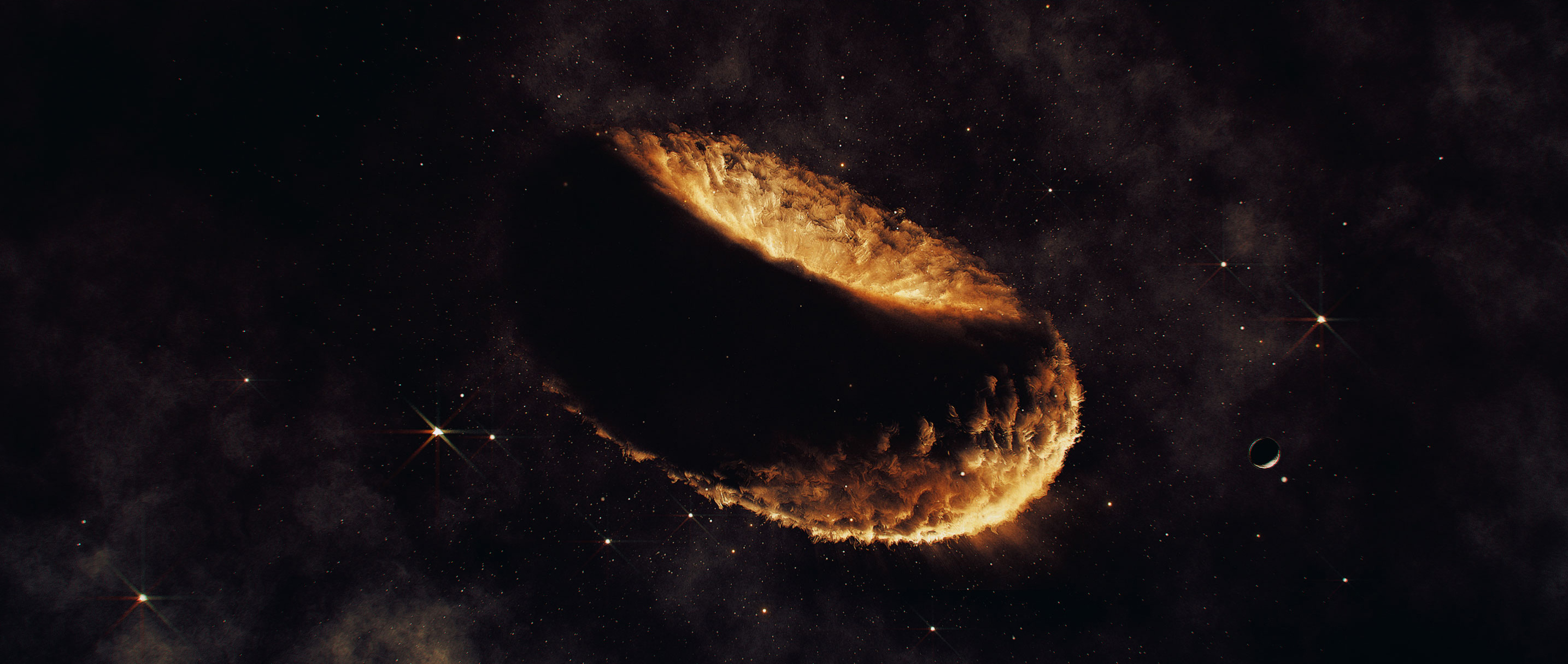 An artist's impression of a synestia, a hypothetical object made of vaporized rock that might have birthed the moon.