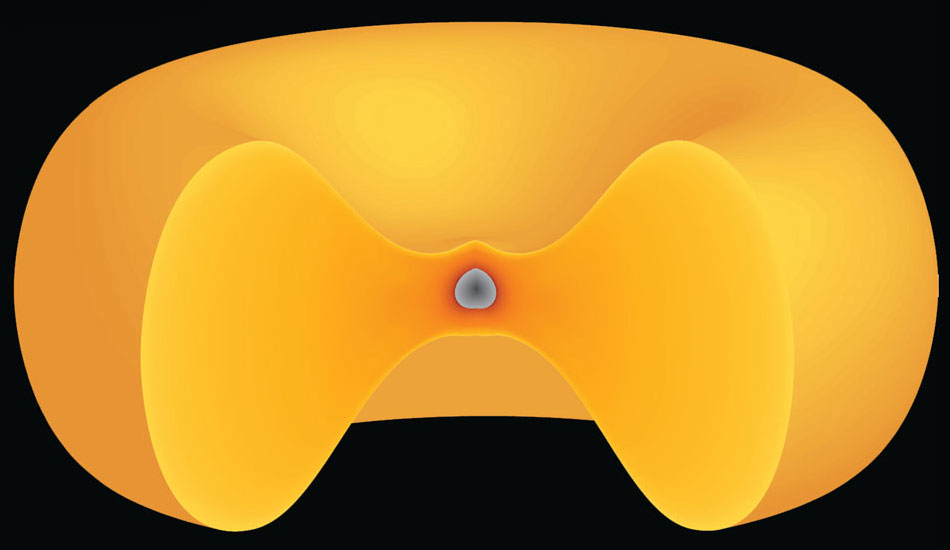 A synestia would be made of a bagel-like mass of vaporized rock surrounding a rocky planet.
