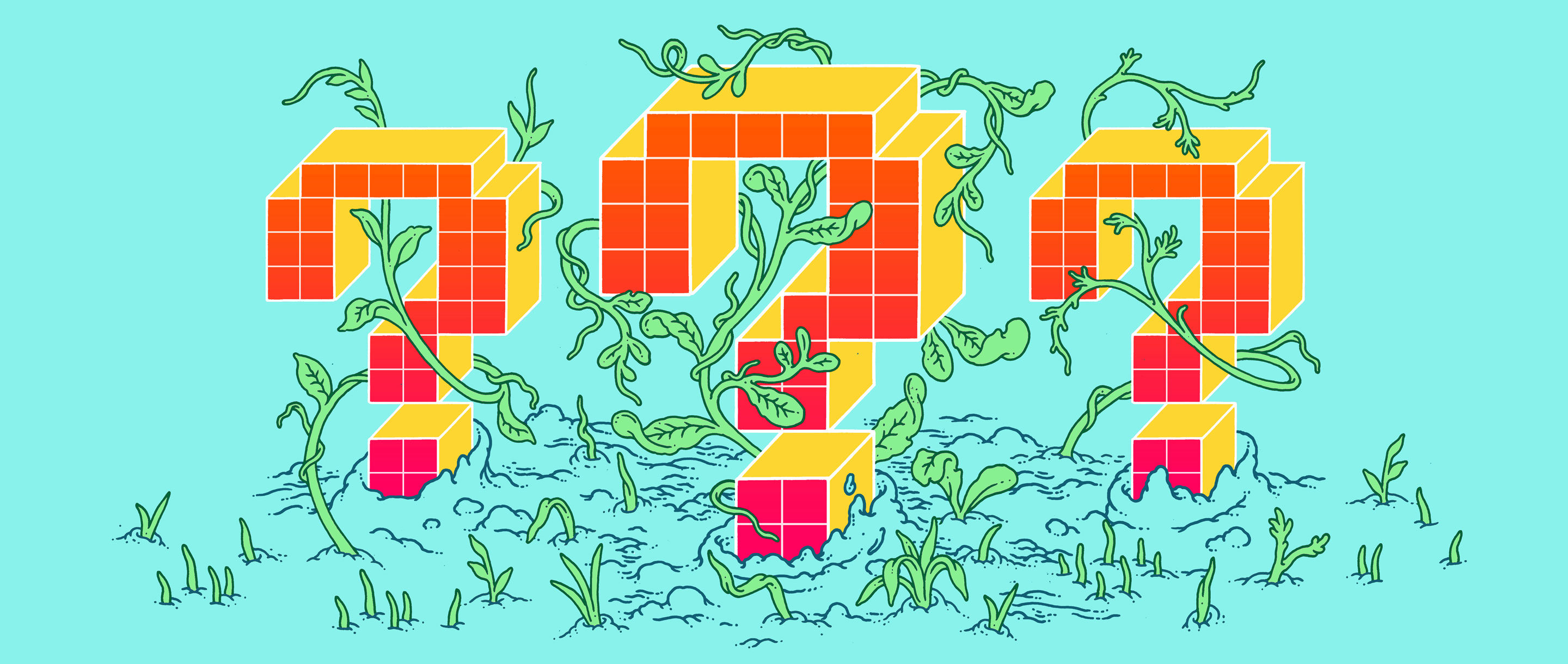 Digital question marks surrounded by vines