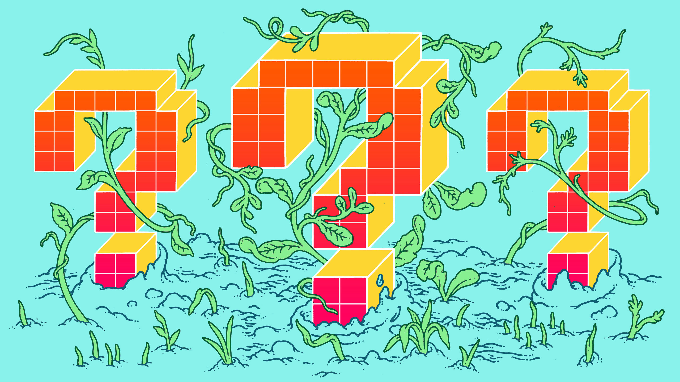 Clever Machines Learn How To Be Curious Quanta Magazine As I Set Out On A Quest Develop More Of These Types Learning Digital Question Marks Surrounded By Vines