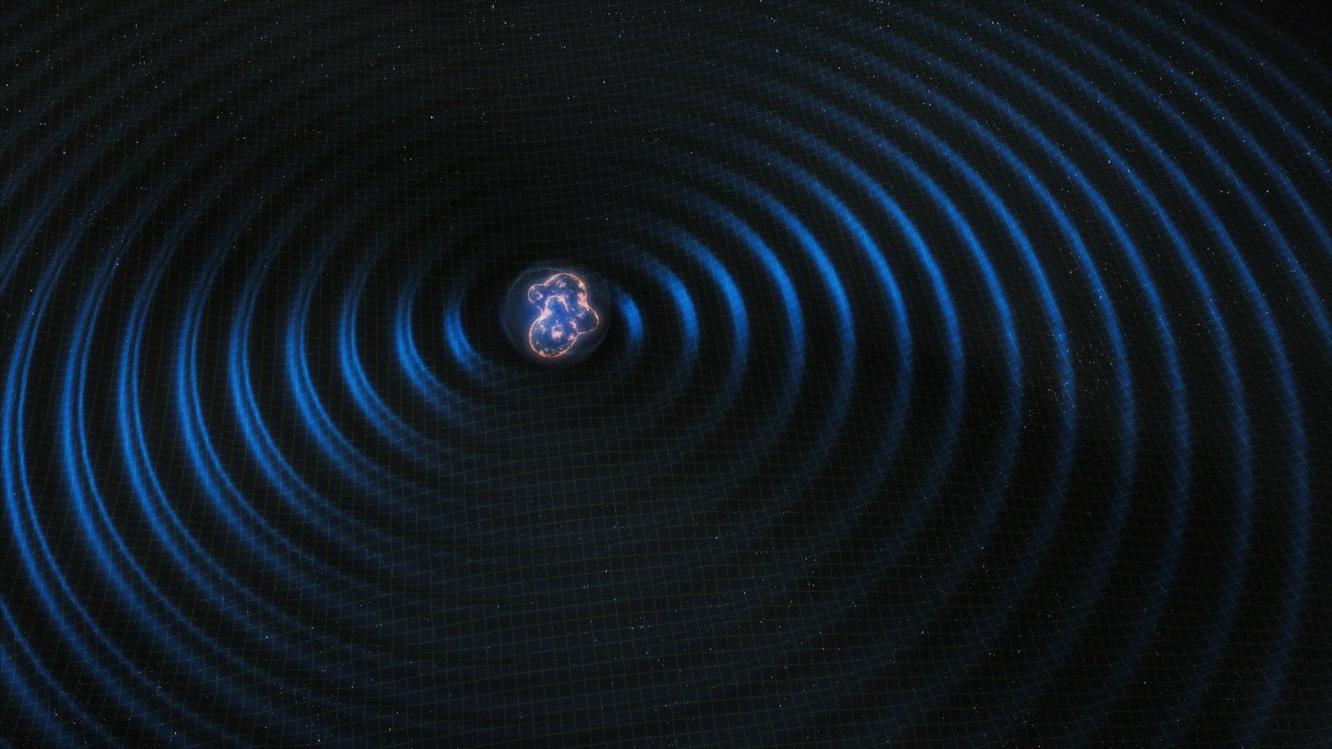 Artist's rendering of merging neutron stars.
