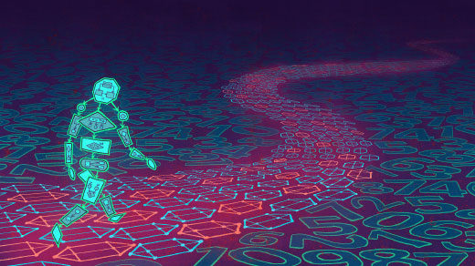 A blue person made of code walks down a pink road patterned with hexagons