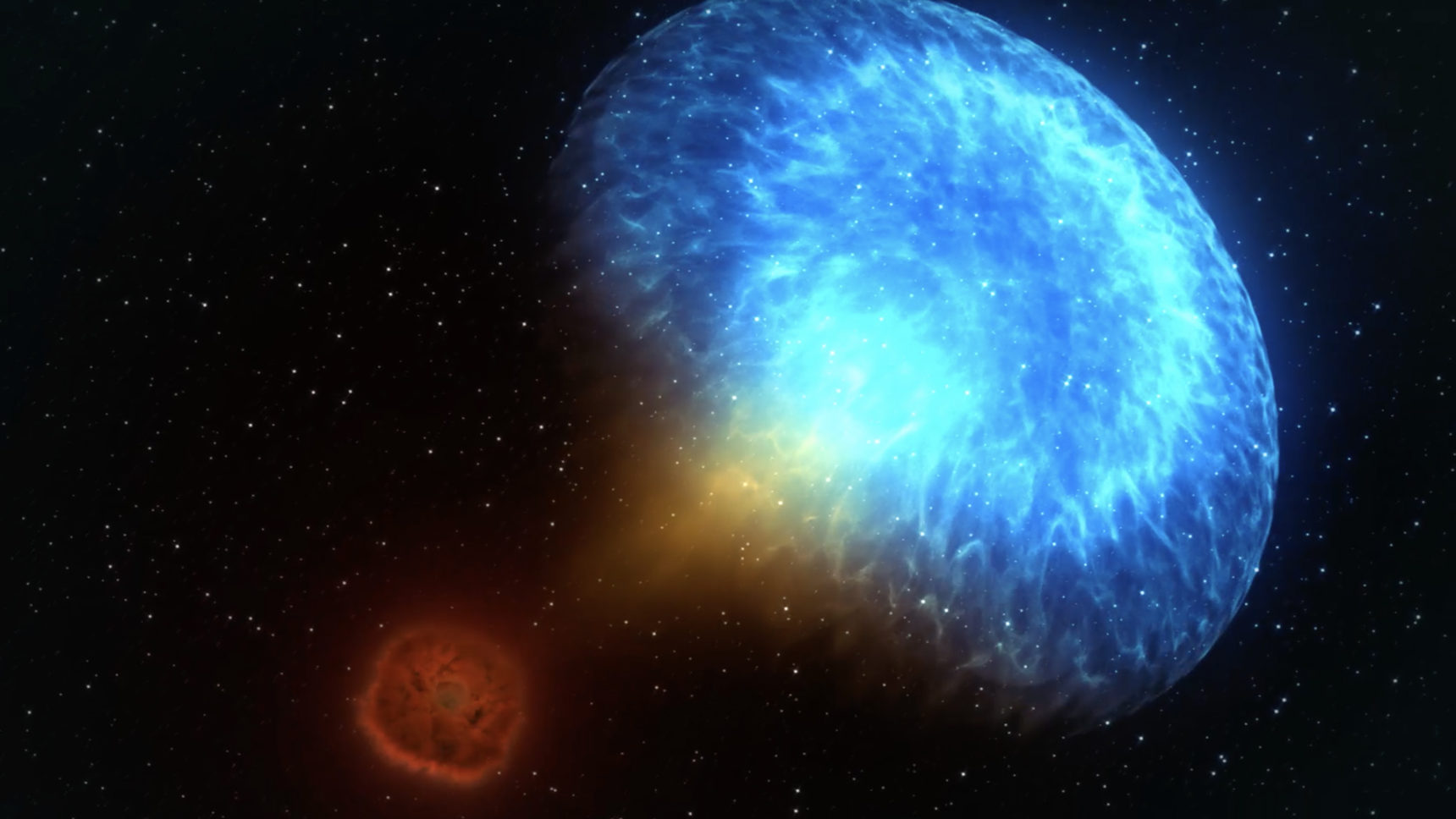 Video: This artist's view shows the moments before and the nine days following a kilonova. Two neutron stars spiral inward, creating gravitational waves (pale arcs). After the merger, a jet produces gamma rays (magenta), while expanding radioactive debris makes ultraviolet (violet), optical (blue-white) and infrared (red) light.