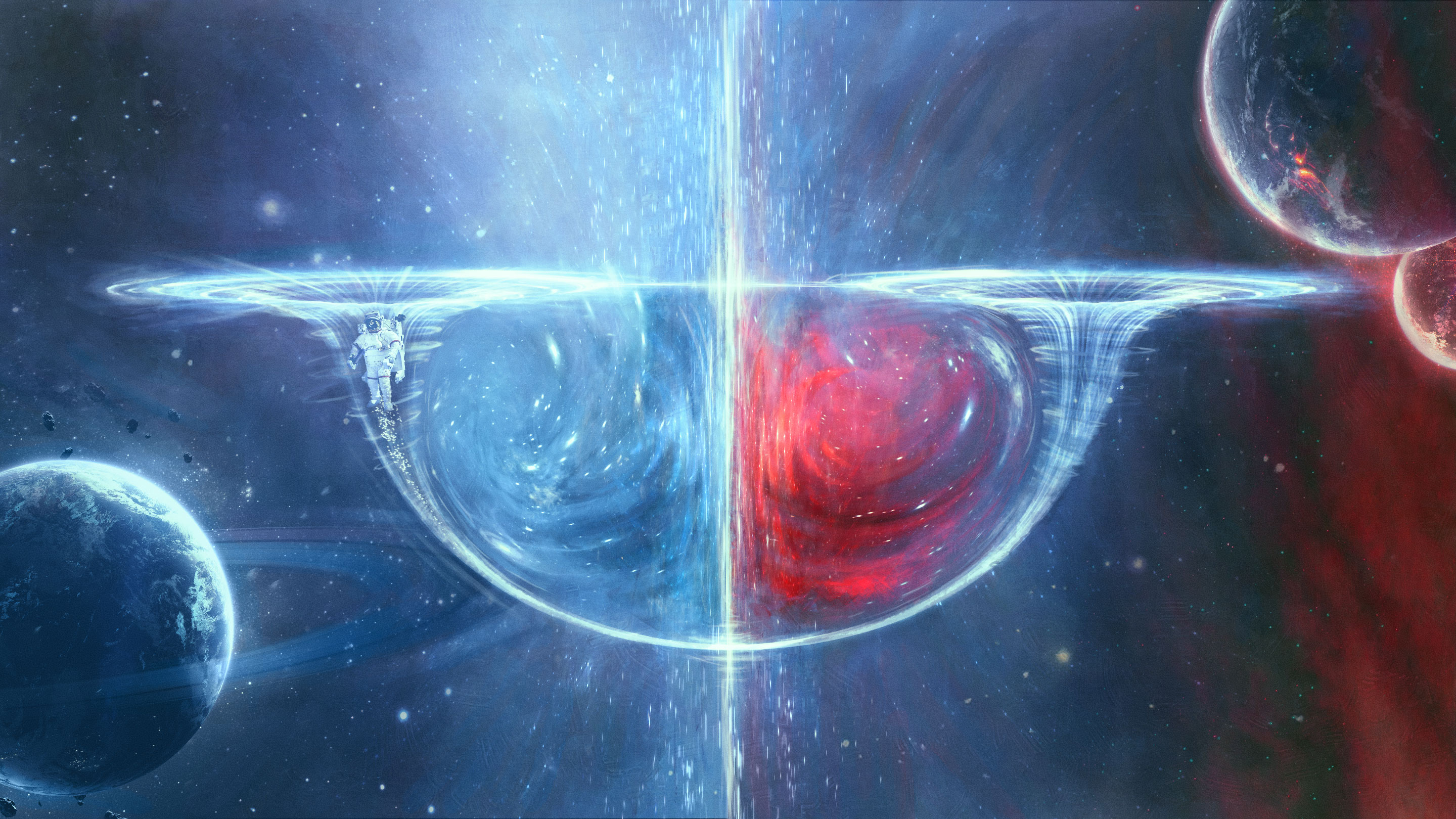 A wormhole split in two with swirls of blue on one side and swirls of pink on the other with a ringed planet in the background.