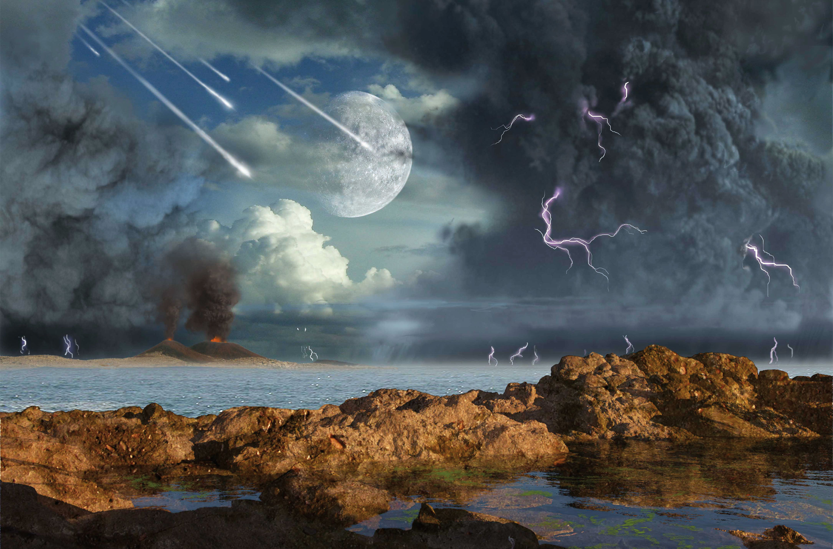 Illustration: Earth at the beginning of the Archean eon