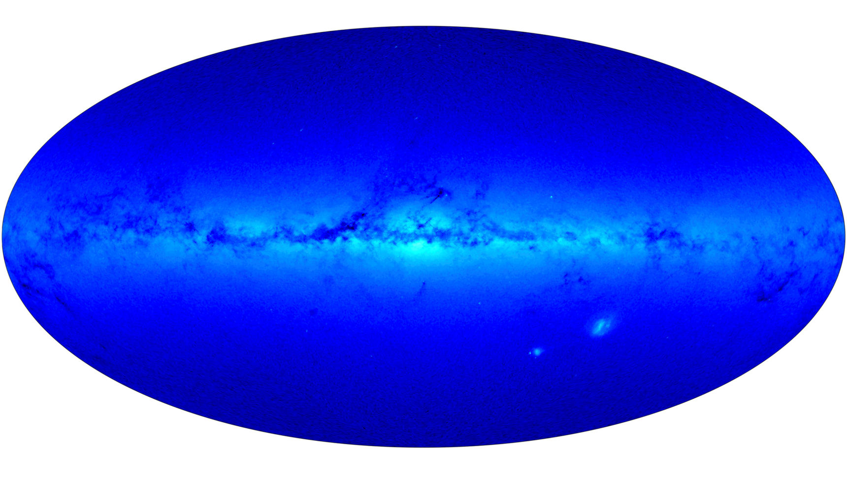 The Milky Way as seen by the Gaia satellite shows the dark clouds of dust that obscure the view of galaxies in the universe beyond.