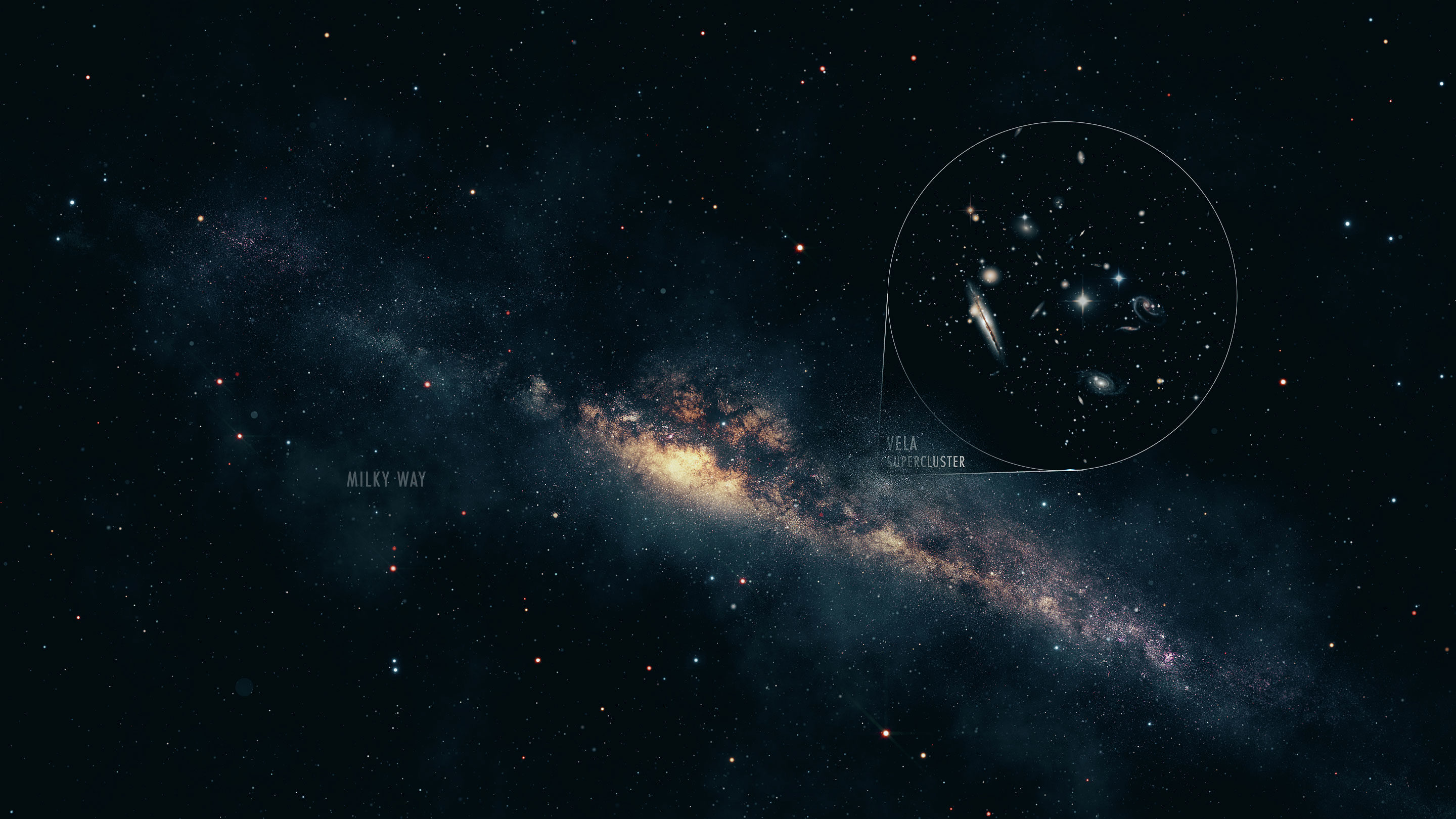 An illustration of the Vela Supercluster peeking out from behind the Milky Way's Zone of Avoidance.