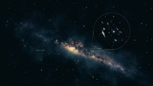An artist's conception of the Vela Supercluster peeking out from behind the Milky Way's Zone of Avoidance.
