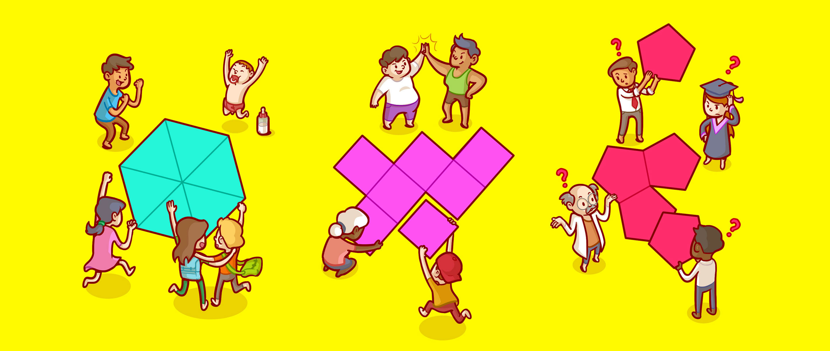 Triangles fit effortlessly together, as do squares. When it comes to pentagons, what gives?