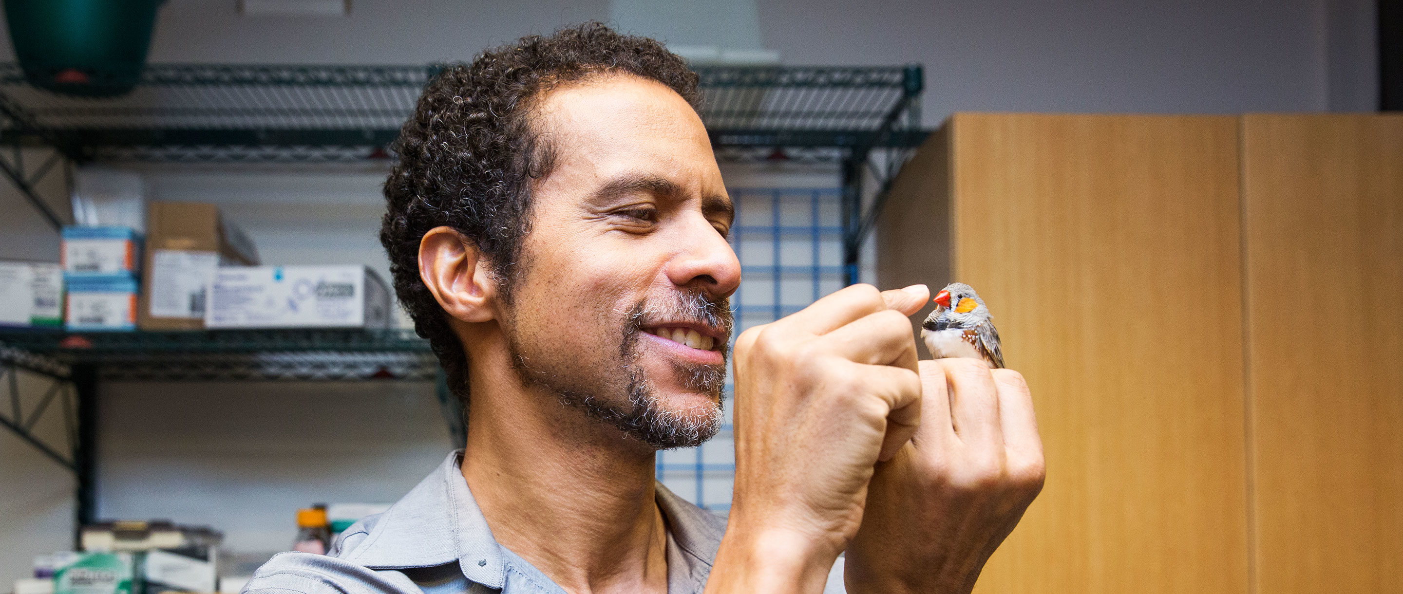 HP photo of Jarvis holding a zebra finch