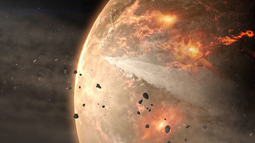 A series of fossil finds suggests that life on Earth started earlier than anyone thought, calling into question a widely held theory of the solar system's beginnings.