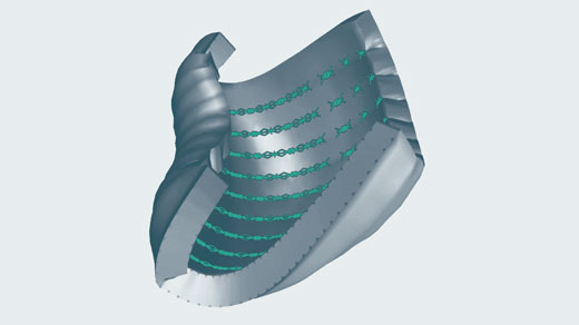 520px 3D illustration of tissue curling