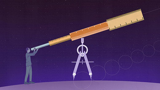 Illustration: man using rulers stacked on a compass as a telescope